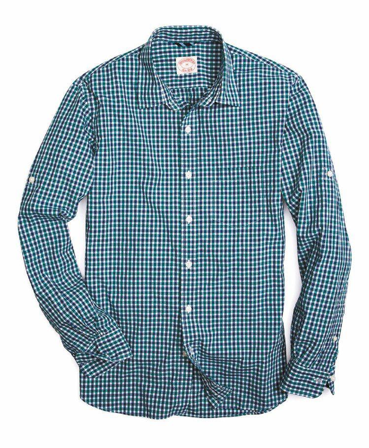 Brooks Brothers綠色格紋襯衫,3,580元。圖/迪生提供