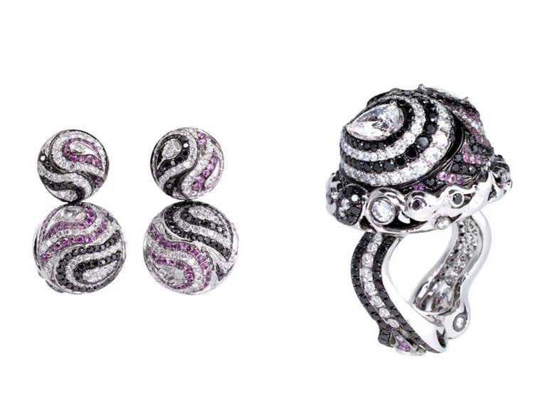 「轉」系列戒指、耳環有著獨特的4D珠寶工藝技術。圖/翡歐力提供