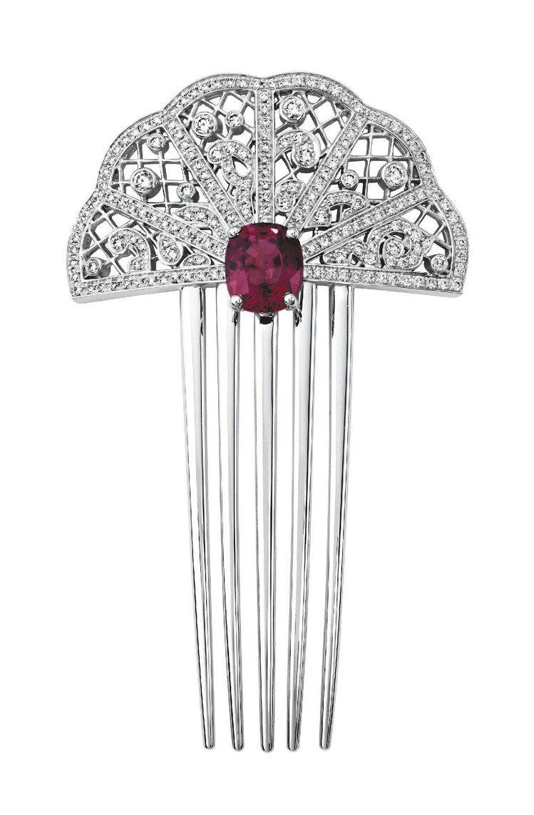 Couture Precieuse髮簪,18K白金鑲嵌182顆美鑽和紅色尖晶石,...