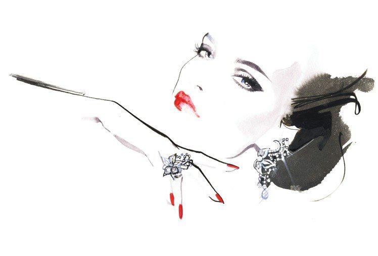 知名插畫家David Downton將伯爵珠寶與高級訂製服融合成美麗圖稿。圖/伯...