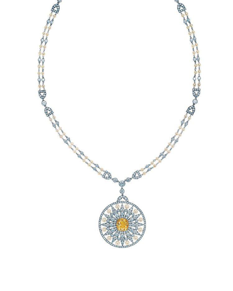 黃鑽和珍珠鑽石雛菊項鍊,779萬5,000元。圖/Tiffany提供