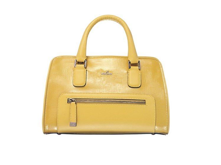 HOGAN黃色壓紋皮革手提包,31,900元。圖/迪生提供