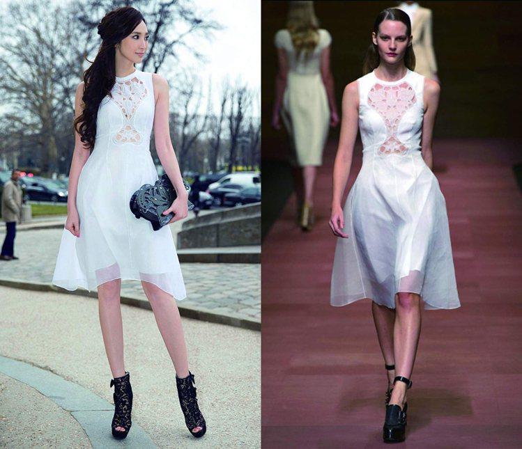 用蕾絲透視感的黑色高跟鞋和胸前有半透明蕾絲拼接洋裝相呼應,短靴款式強調衝突個性美...