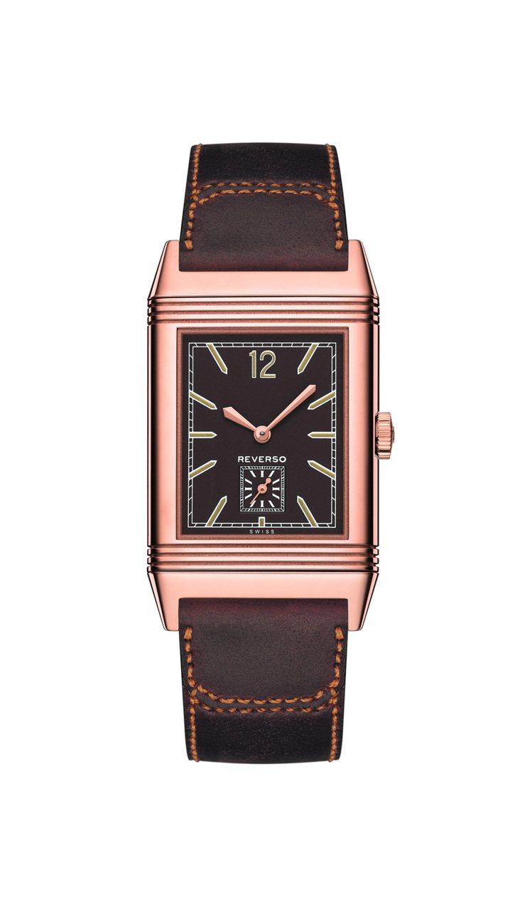 1931大型超薄翻轉腕表巧克力色表盤,18K玫瑰金,手動機芯,56萬元。圖/積家...