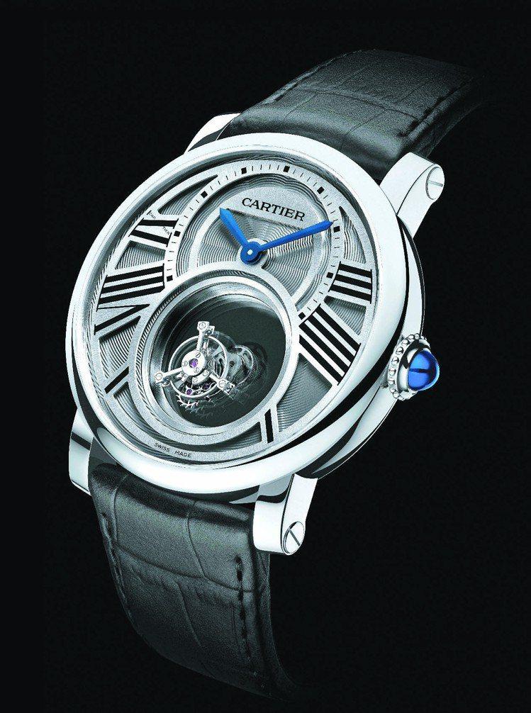 雙重神秘陀飛輪腕表,9454 MC型手動機械機芯,日內瓦印記,鉑金表殼。圖/卡地...