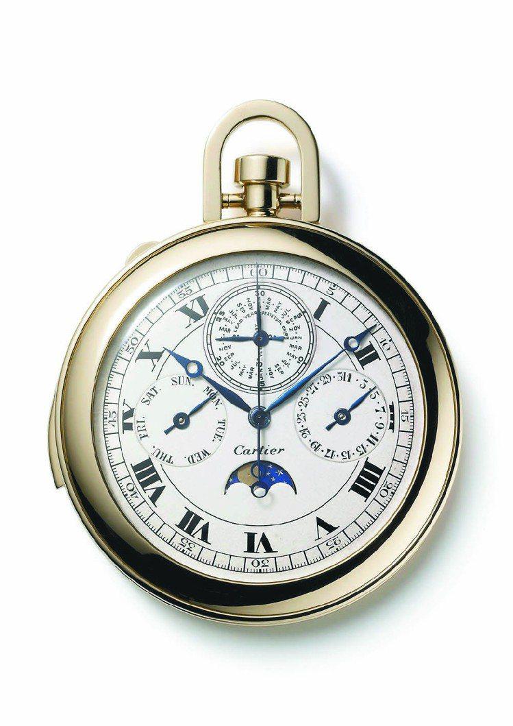 三問懷表,追針計時,萬年曆和月相顯示;K金,機械機芯。1927年製。圖/卡地亞提...