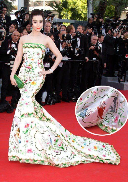 2012年,范冰冰以一身宛如中國瓷器的四大美人禮服亮相坎城。圖/達志影像