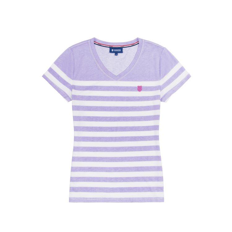 粉紫條紋短袖T-Shirt 售價980元。圖/K-SWISS提供