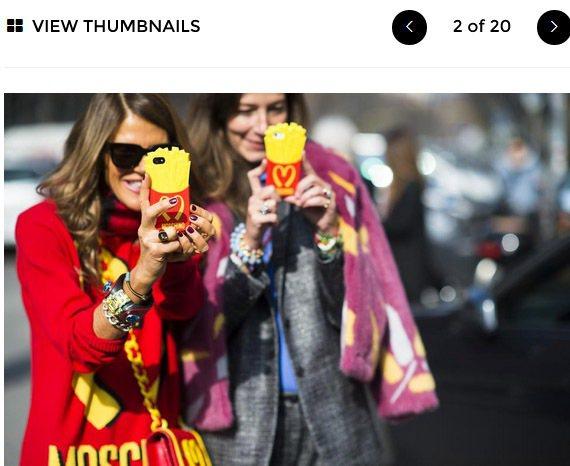 Moschino手機早在年初的時裝周就已是幾乎人手一支的街拍焦點單品。圖/擷取自...