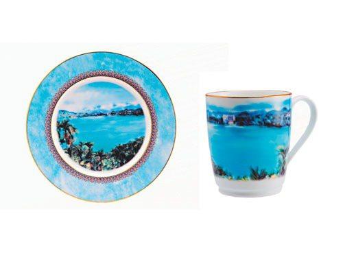 Noritake為建國百年設計的手繪風景盤和手繪風景杯。圖/業者提供