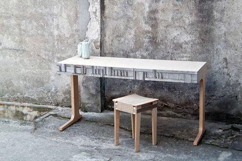 紙木材設計桌椅。圖/Wow!La Vie提供