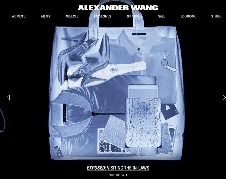 王大仁(Alexander Wang)官網設計將商品目錄弄成 X 光影像。圖/擷...