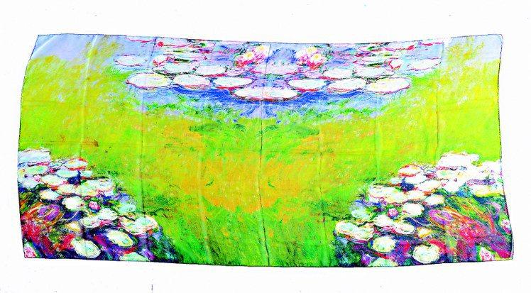 莫內與LANVIN聯名紀念絲巾,3,980元。圖/莫內展提供
