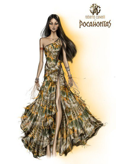 穿著Roberto Cavalli禮服的寶嘉康蒂。圖/擷取自mamamia.co...