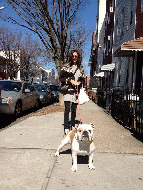 漂亮街景 × 美麗人兒:街上與狗子散步的主人們都好驕傲,狗子昂首闊步快樂地在前頭...