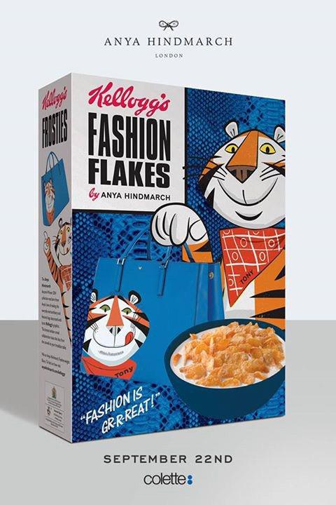 設計師 Anya Hindmarch 讓東尼虎拎著品牌秋冬新包出現在家樂氏玉米片...
