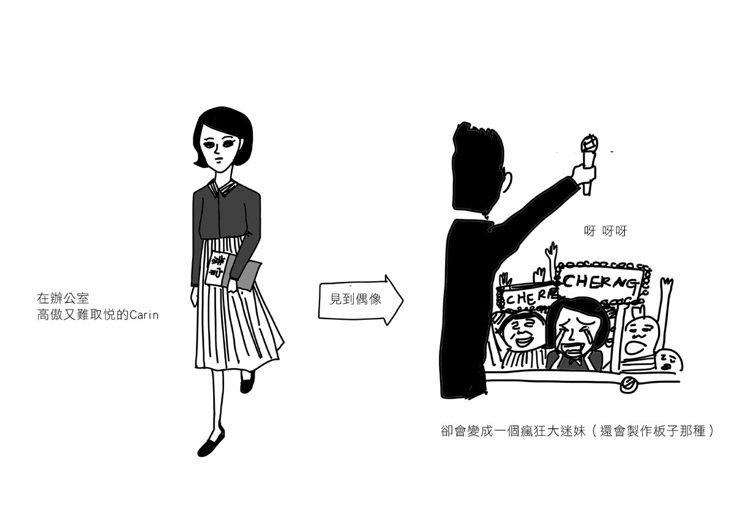 2.看到偶像的女人。圖/Cherng繪