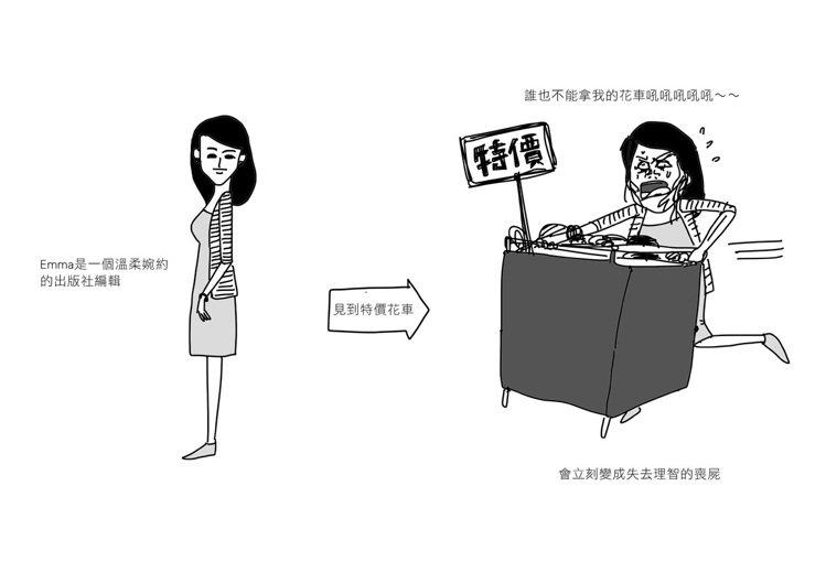 4.搶特賣品的女人。圖/Cherng繪