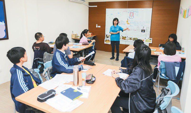 英文課輔班上課情形。 記者黃士航/攝影