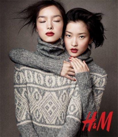 H&M找來大陸名模杜鵑、孫菲菲拍攝最新代言照,感覺像是精品廣告。圖/H&M提供