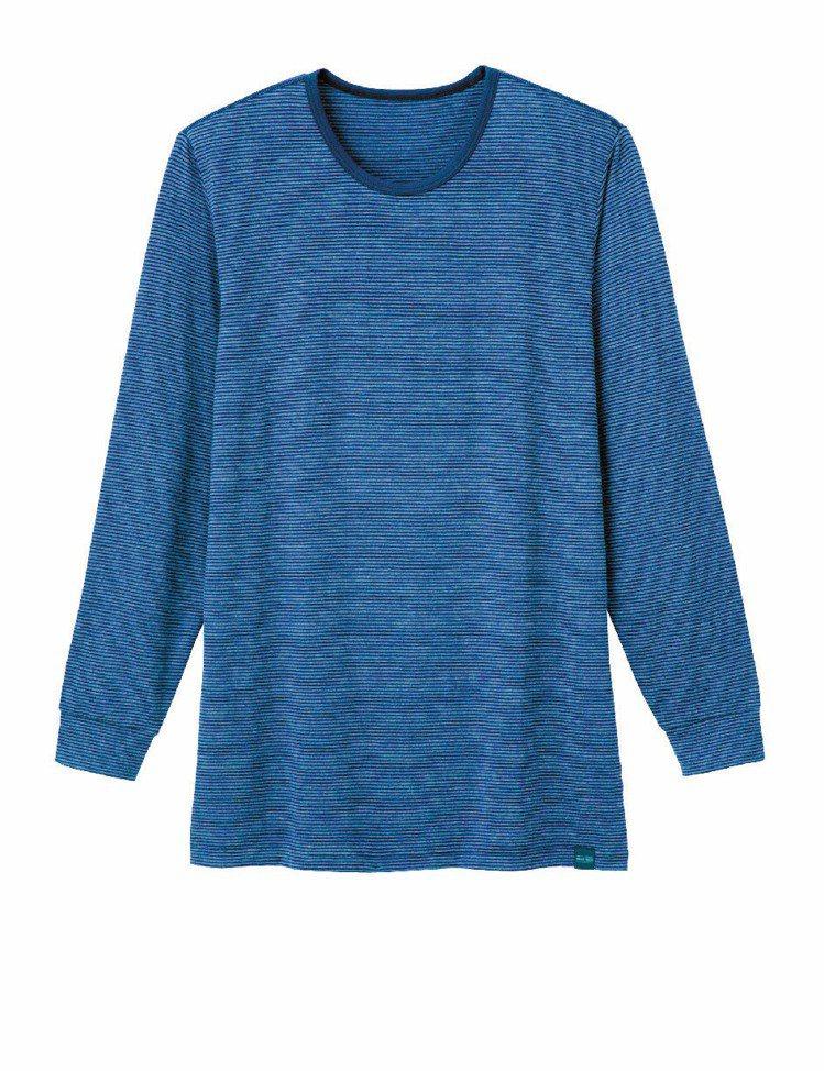 UNIQLO HEATTECH 條紋圓領T恤兼具保暖與搭配機能。圖/UNIQLO...