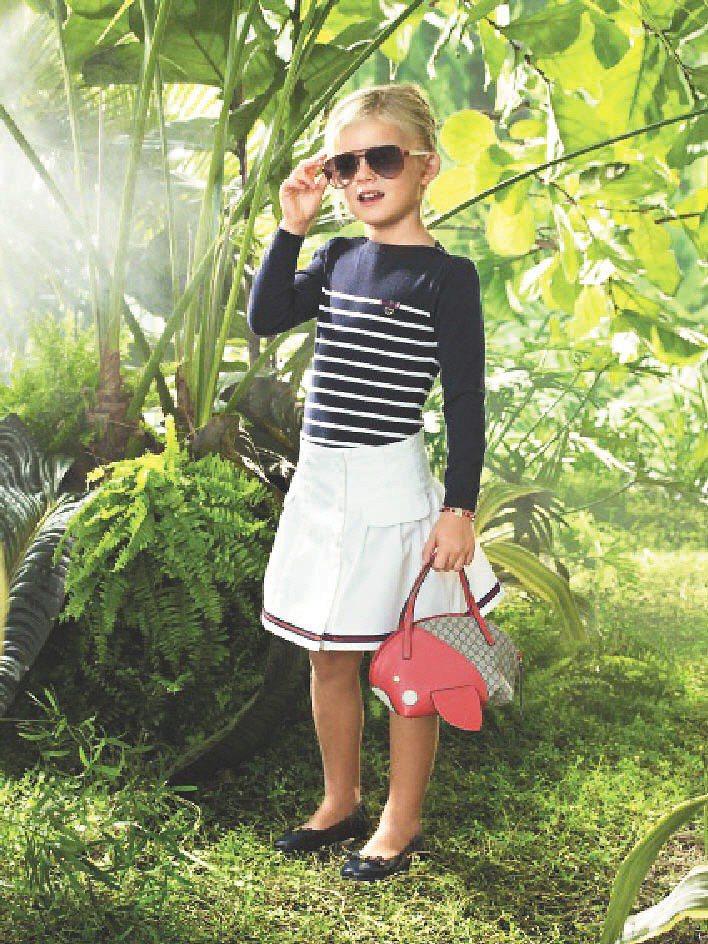 GUCCI春夏童裝春夏童裝發表歡讚海洋、庭園派對、叢林生活三系列。圖/GUCCI...