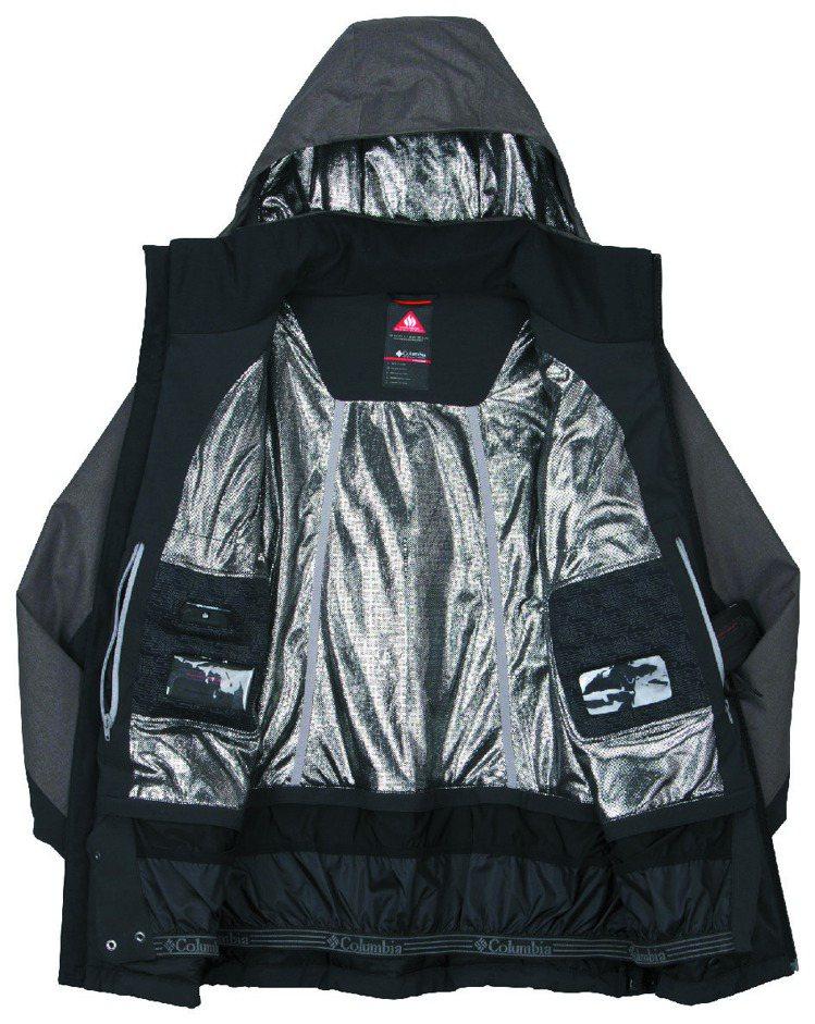 Columbia電力保暖防水單件式外套,內裡布滿鋁點,售價38,000元。圖/C...