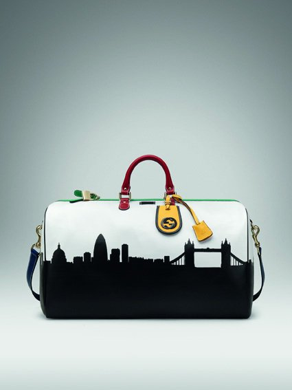 GUCCI 倫敦奧運限量 The City Collection 皮革滾邊提包。...