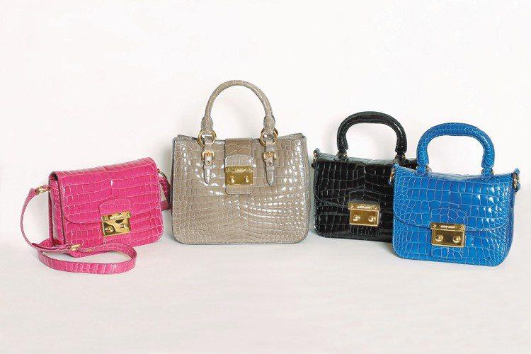 復古瑪德絲旋釦框包限量紀念版本,採用珍稀鱷魚皮革(從左至右),粉紅色肩背款540...