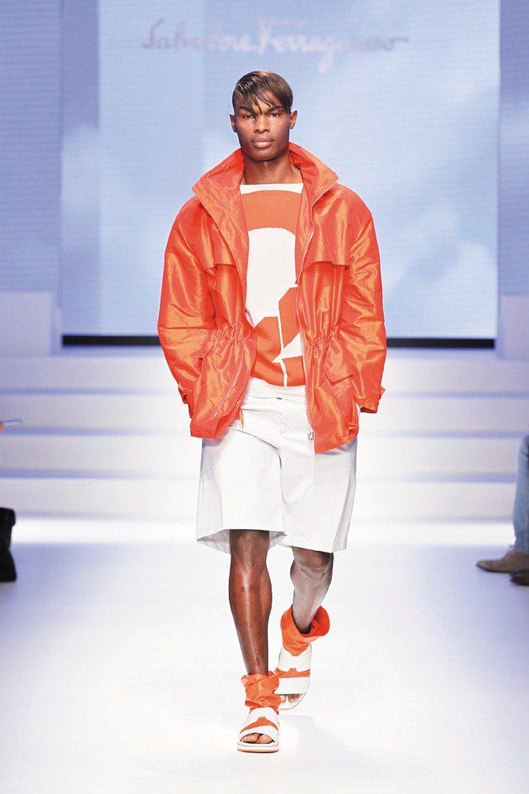 Ferragamo明年春夏男裝延續多色彩,並添加運動感。圖/Ferragamo提...