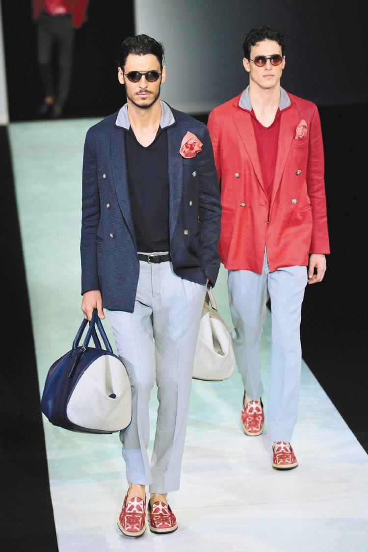 Giorgio Armani無論休閒或正式裝扮,領子都有看頭。圖/法新社