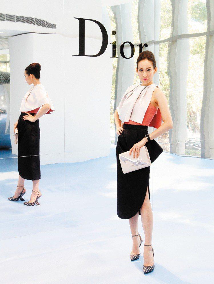 李曉涵穿Dior秋冬優雅女裝,手拿Dior粉紅色安迪沃荷繪圖手拿包。記者蘇健忠/...