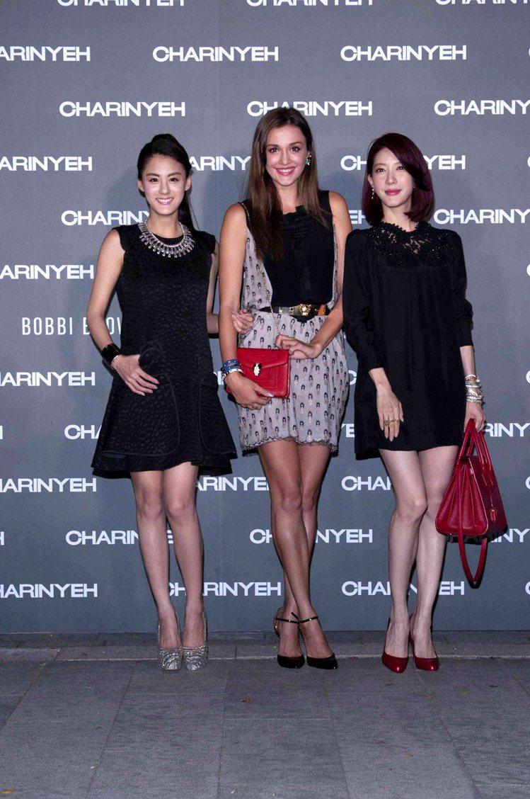 (左起)宋紀妍、瑞莎、宋米秦出席葉珈伶2013秋冬大秀。圖/樺舍提供