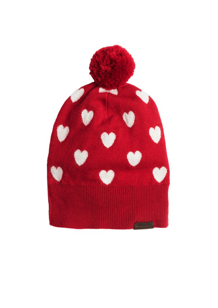 紅色愛心毛帽。圖/BURBERRY提供
