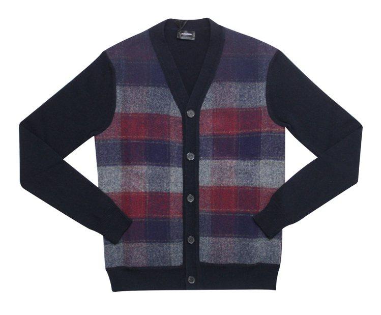 格紋開襟毛衣外套,售價3萬6800元。圖/Jil Sander提供