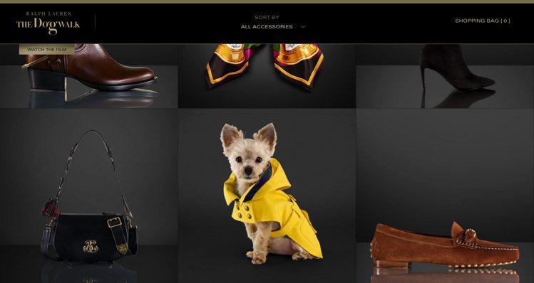 Ralph Lauren找來流浪狗們當廣告主角,宣傳新一季的包款飾品。圖/擷取自...
