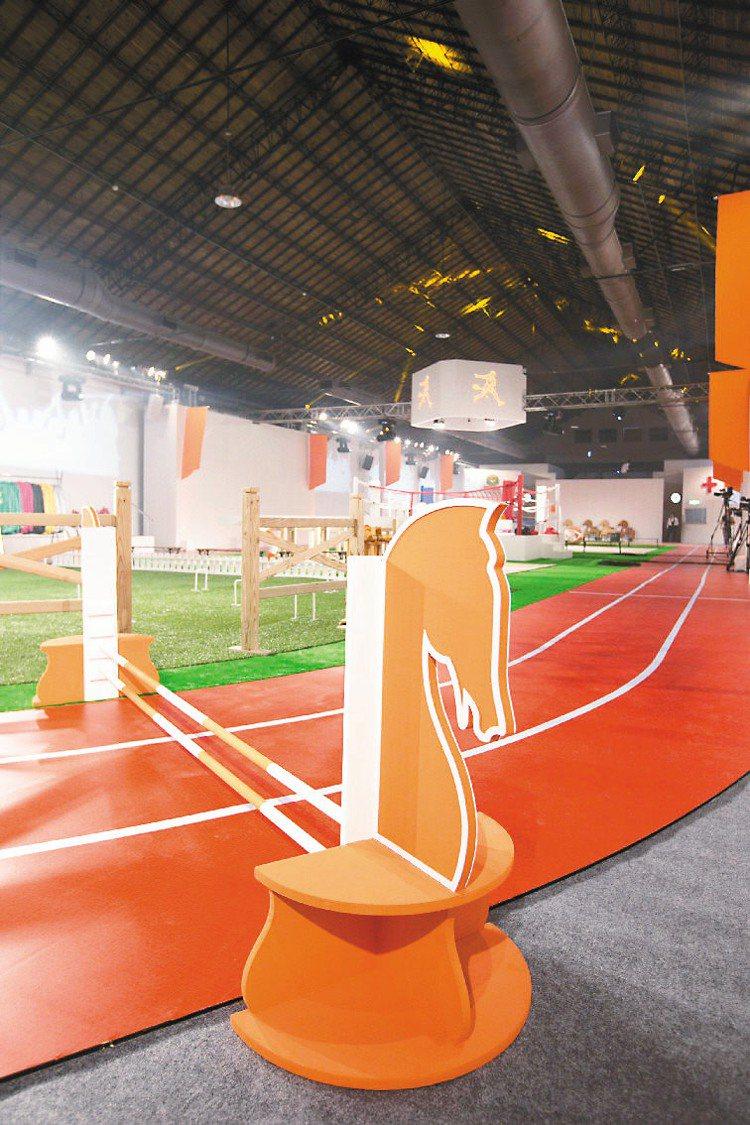 愛馬仕主題派對,打造成一座大型運動場。圖/HERMES提供