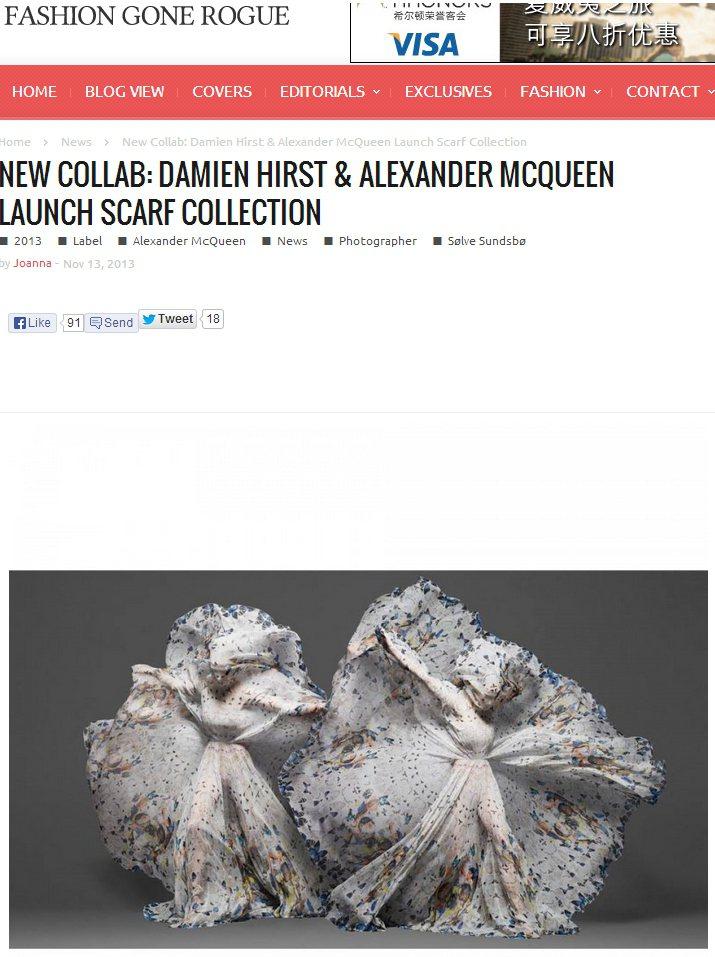 Alexander McQueen找來藝術家Damien Hirst合作絲巾系列...
