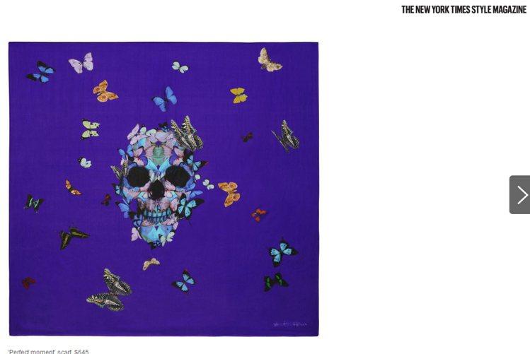 Damien Hirst的黯黑絲巾系列包括骷髏、蜘蛛、蝴蝶與其他昆蟲主題。圖/擷...