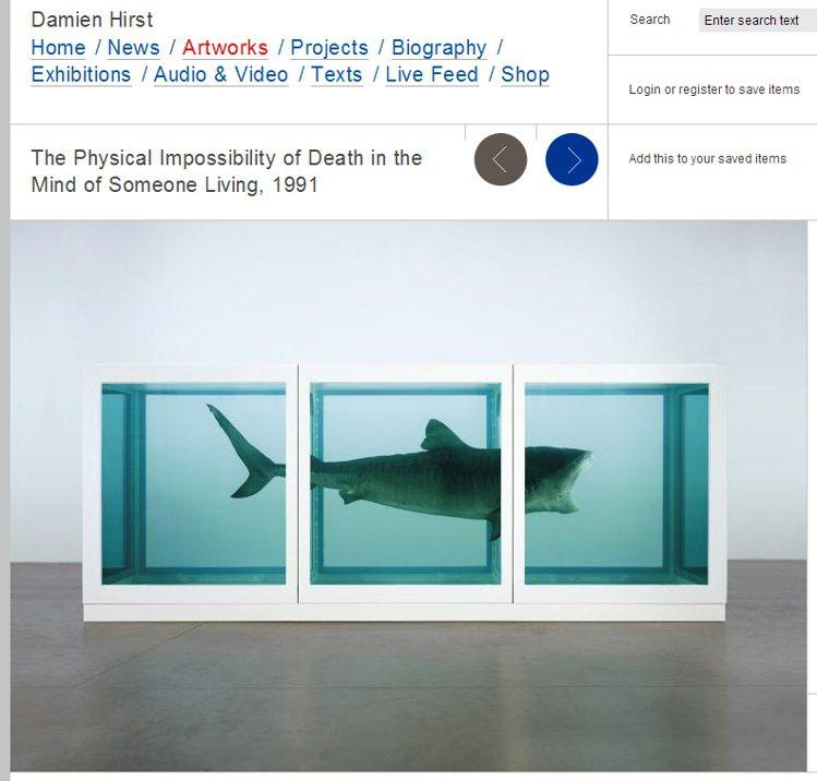 Damien Hirst喜歡以動物標本創作來探討「死亡」議題,作品擁有極端前衛的...