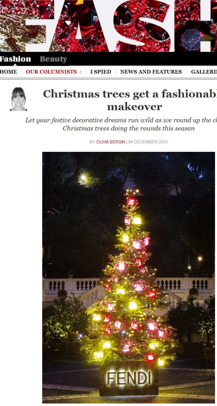 FENDI 僅用人氣火紅的毛怪魔魔裝飾耶誕樹。圖/擷取自telegraph