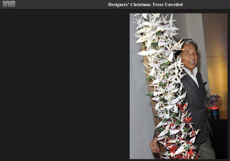 Kenzo Takada以紙鶴做耶誕樹。圖/擷取自wwd.com