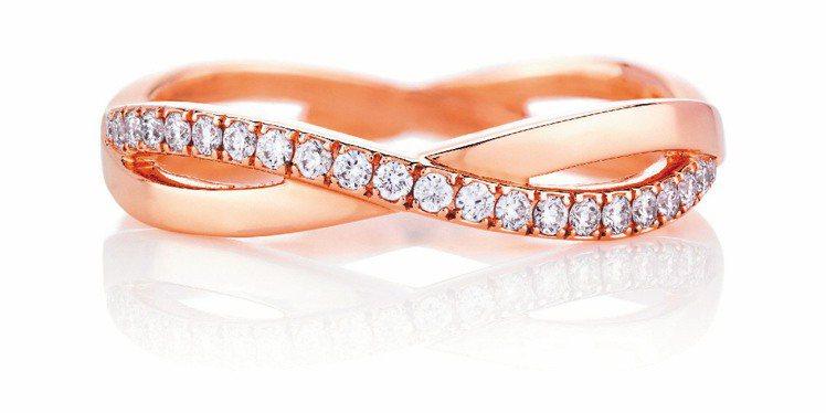 Infinity 玫瑰金戒環,85,000元。圖/De Beers提供