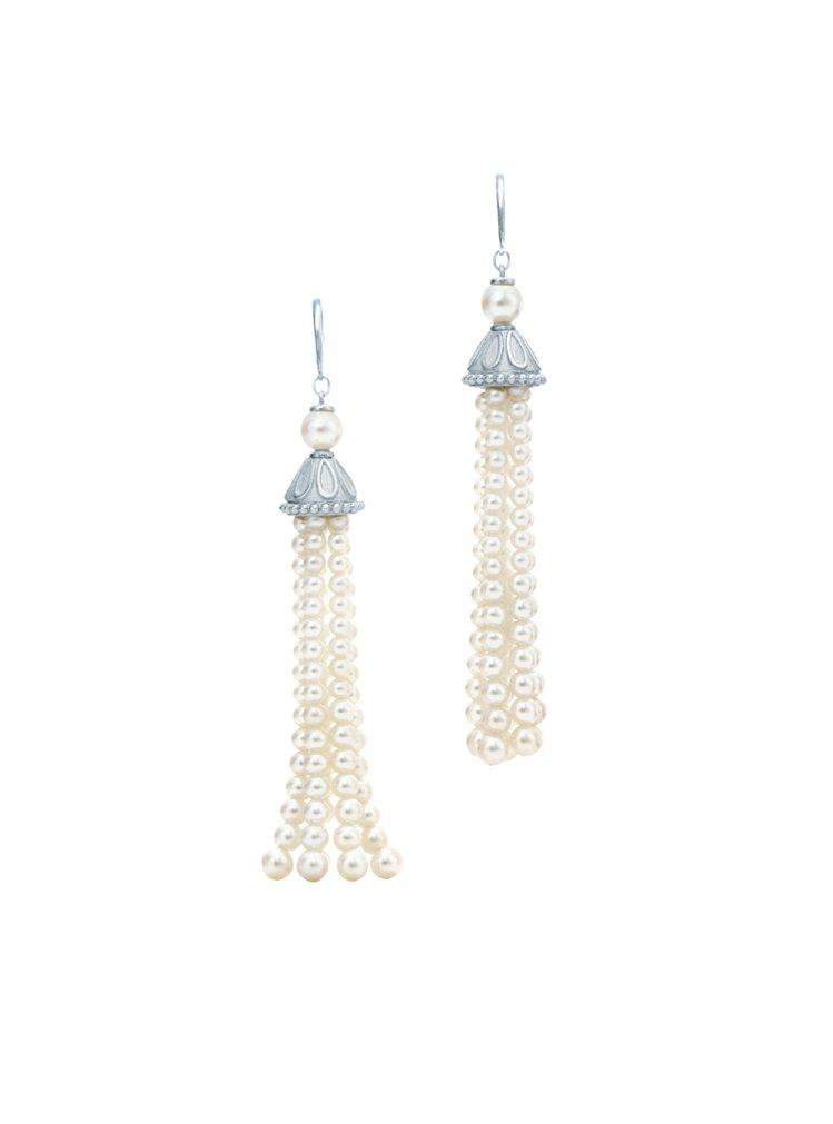 Tiffany Ziegfeld 純銀珍珠流蘇耳環,NT 38,000。圖/Ti...
