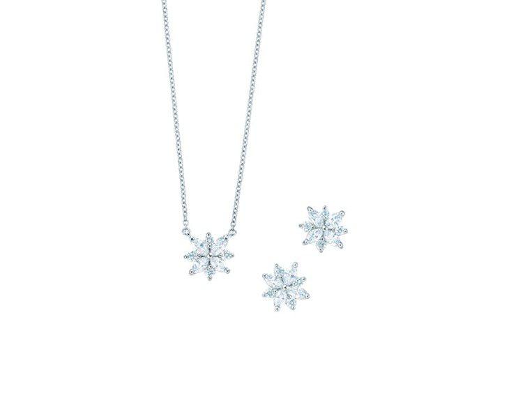 Tiffany Victoria系列鉑金鑽石項鍊,NT118,000、鉑金鑽石耳...