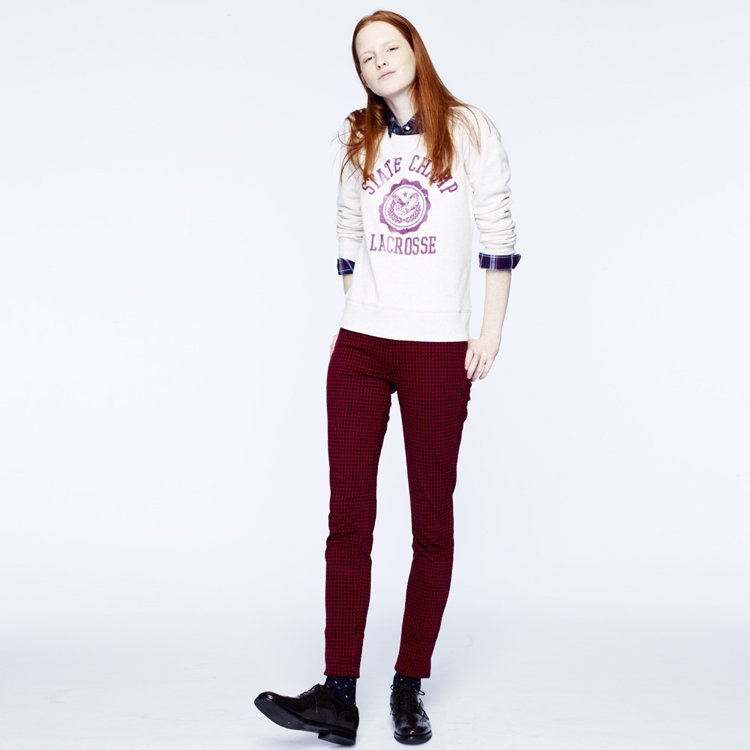 UNIQLO紅格紋 leggings pants jeans。圖/UNIQLO提...
