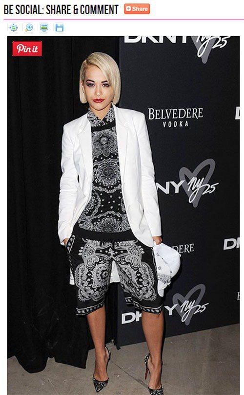 Rita Ora穿DKNY白西裝搭印花褲裝,混搭剛與柔。圖/擷取自starsty...