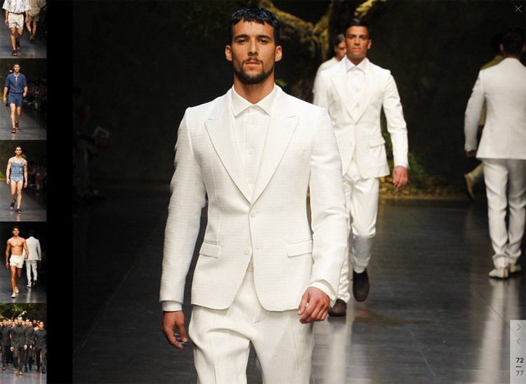 Dolce & Gabbana春夏男裝白西裝look。圖/擷取自Dolc...