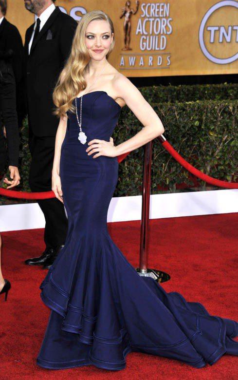 亞曼達賽佛瑞在2013美國演員工會獎穿深藍色的Zac Posen禮服,簡約的長項...