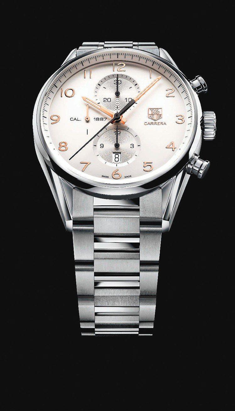豪雅表Carrera Calibre 1887 玫瑰金指針計時腕表,20萬元。圖...